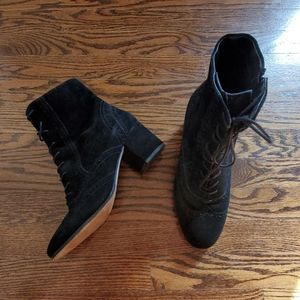 Tahari Black Suede Lace-up Booties